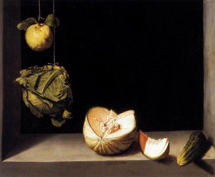 Still Life with Quince, Cabbage, Melon and Cucumber (Juan Sanchez Cotan, c1602)